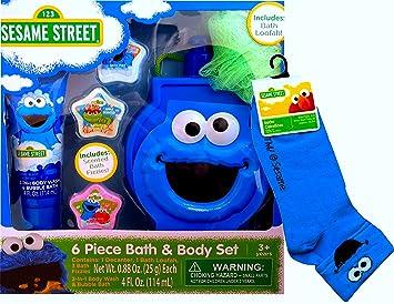 Sesame Street 6 Piece Bath & Body Set with Matching Socks (COOKIE MONSTER)