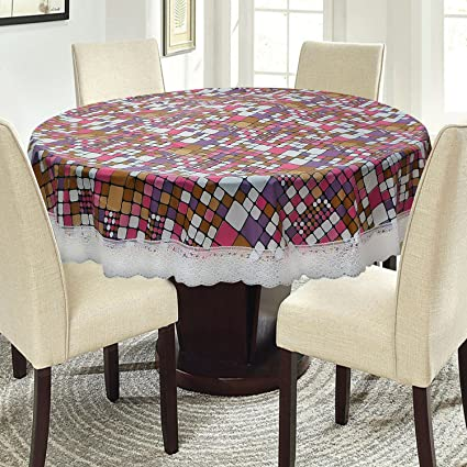 E-Retailer™ Waterproof Round Table Cover with White Lace Multi Color Square Pattern(Suitable for 4 Seater, 60 inch Diameter)