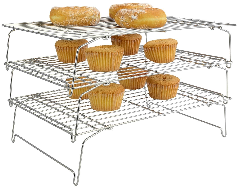 Com Surpahs 304 Grade Stainless Steel 3 Tier Stackable Cooling Rack Set Kitchen Dining