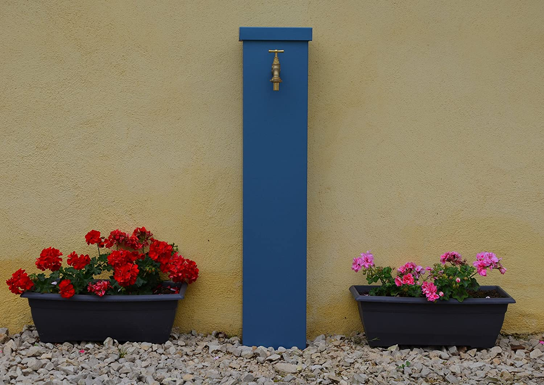 Misterzinc-Fuente de jardín de pared en zinc de color azul: Amazon.es: Jardín