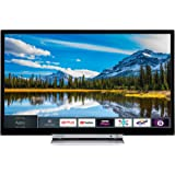 Toshiba 24D3863DB 24-Inch HD Ready Smart TV with Freeview Play and Built In DVD Player - Black/Silver (2018 Model), enabled with Amazon Dash Replenishment
