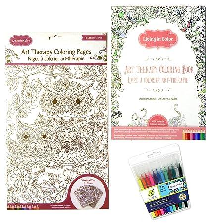 Amazon.com: Art Therapy Wild Animals Coloring Book - Woodland Zen ...