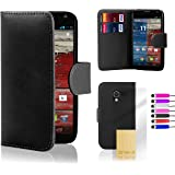 Motorola Moto X Leather Wallet Case by 32nd, Book Style Flip Cover Suitable for Moto X 1st Gen (Released 2013) - Black