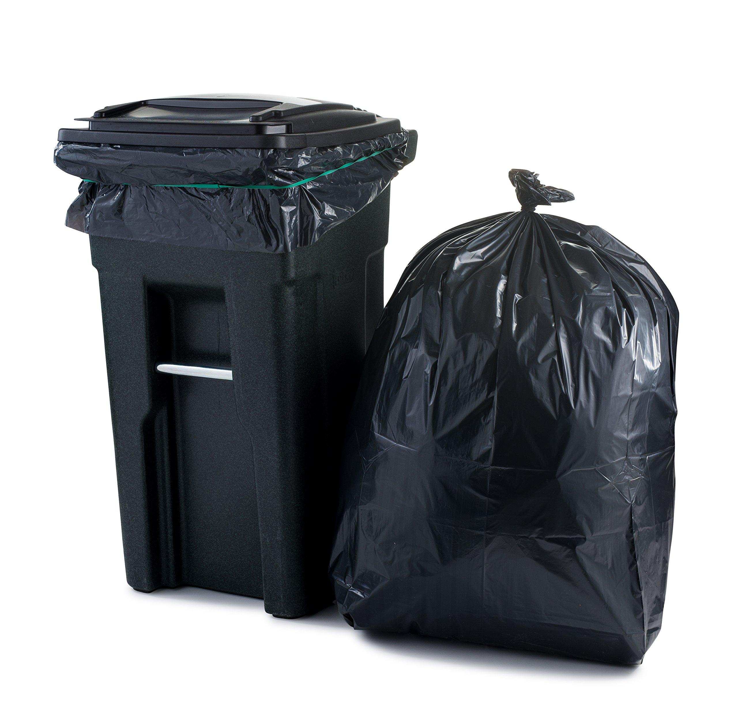 Plasticplace 65 Gallon Extra Heavy Trash Bags , 2.7 Mil, 50''W x 48''H, Black, 25/case