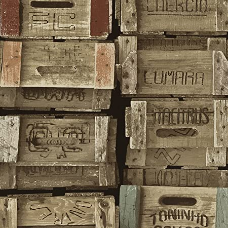 Wood Effect Wallpaper Wooden Crates Rustic Vintage Weathered