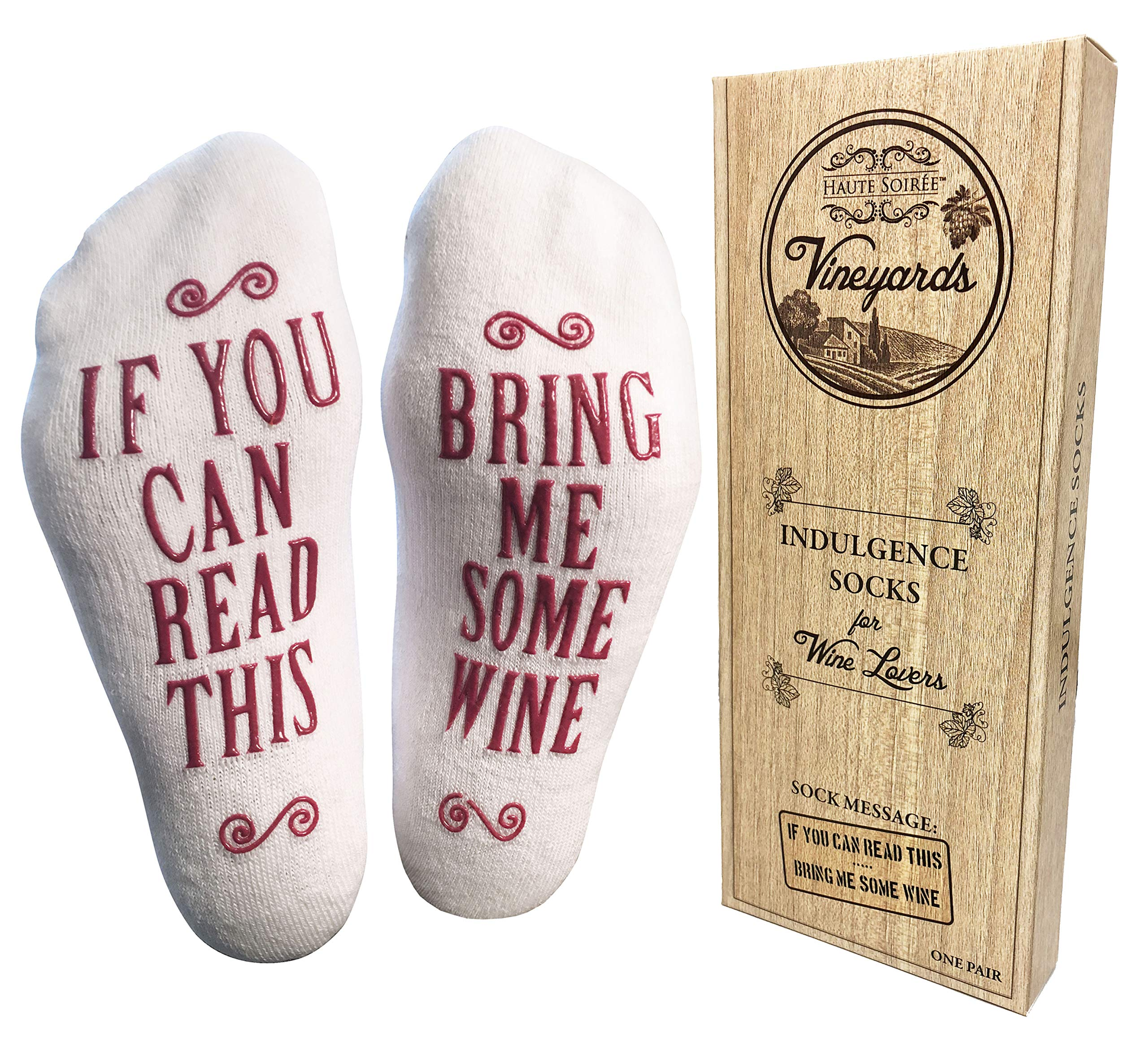 ''Bring Me Some Wine'' Luxury Combed Cotton Socks with Gift Box - Perfect Hostess or Housewarming Gift Idea for Women, Cute Christmas Present for Wine Lover, New Mom or Wife - By Haute Soiree