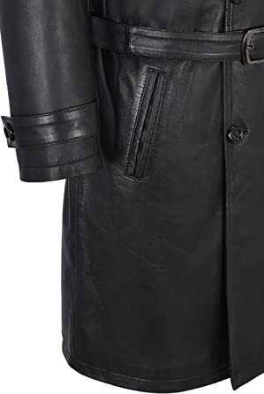 Mens Knee Length Leather Trench Coat Black Lambskin Double Breasted Classic 6970