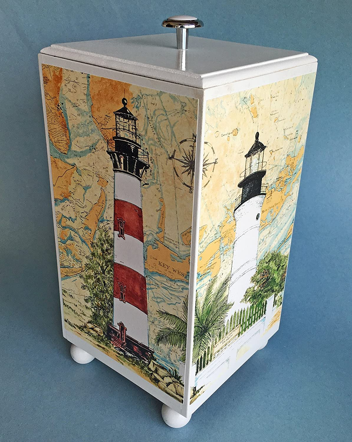 Kensington Row Coastal Collection Bathroom Accessories - Coastal Lighthouse Wooden Toilet Paper Storage Container - Nautical Decor - Slightly Damaged Kensington Row Collection