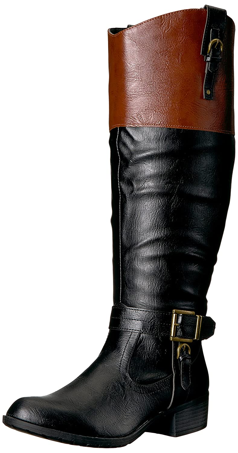 Rampage Women's Ivelia Fashion Knee High Casual Riding Boot (Available In Wide Calf) B00VVJ6I6E 8 B(M) US|Black/Cognac