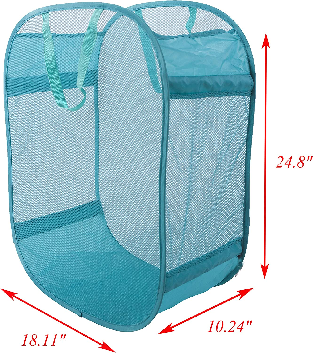 Amelitory Mesh Pop-up Laundry Hamper Easy Foldable Laundry Baskets with Two Durable Handles for Home,Dorm,Travelling Storage Lake Blue
