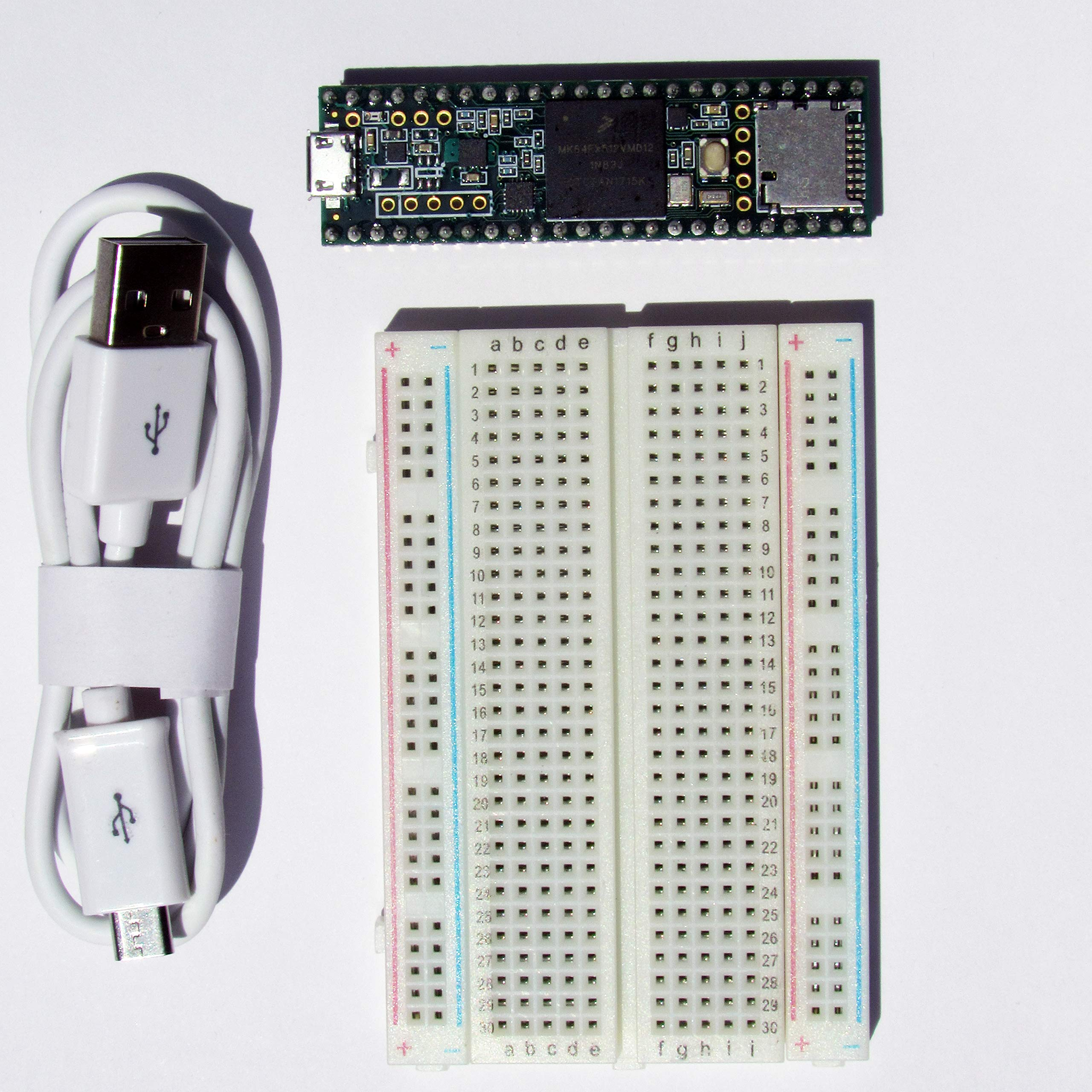 Teensy 3.5 with pins, Plus breadboard and USB Cable