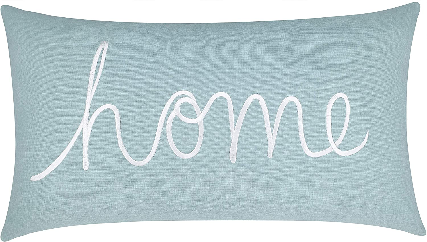 """EURASIA DECOR Home Sentiment Embroidered Decorative Lumbar Accent Throw Pillow Cover for Bedroom Couch Housewarming Porch Sofa 14""""x24"""" (Sea Blue)"""
