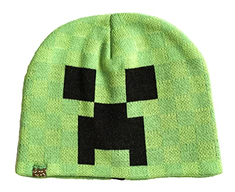 Minecraft Character Boys Vibrant Green Black Creeper Knitted Winter ... 9387370956a