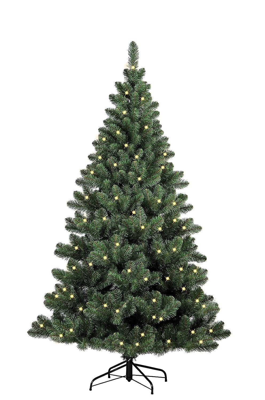 Forever Grün 958934 Auburn künstlicher Weihnachtsbaum, H 150 x D 110 cm, PVC, inklusive 150 LED Lichter, 394 Spitzen Metallständer, grün