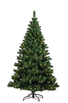 Forever Green 958933 Auburn künstlicher Weihnachtsbaum, H 120 x D 93 cm, PVC, inklusive 100 LED Lichter, 202 Spitzen Metallst