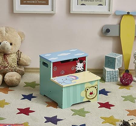 WODNEY Taburete de madera para niños | Taburete infantil con almacenamiento | Taburetes portátiles y