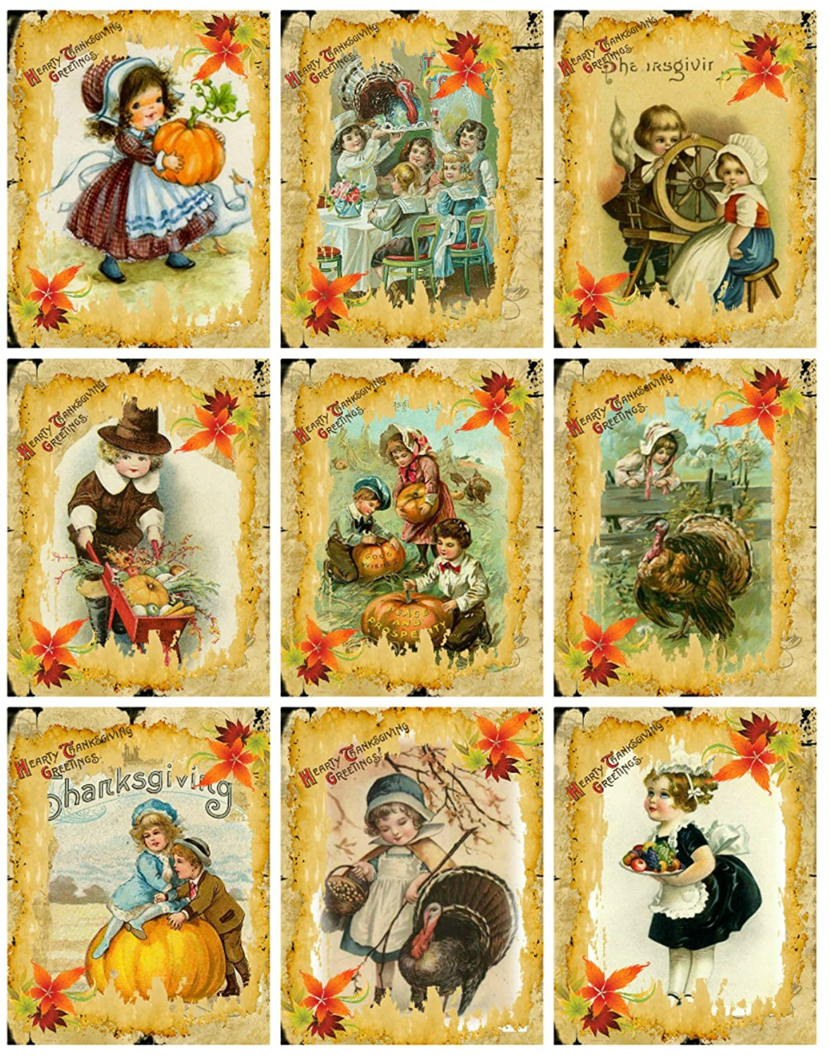 Assorted Vintage Thanksgiving Cards, Tags, ATC Collage Sheet Paper Moon Media