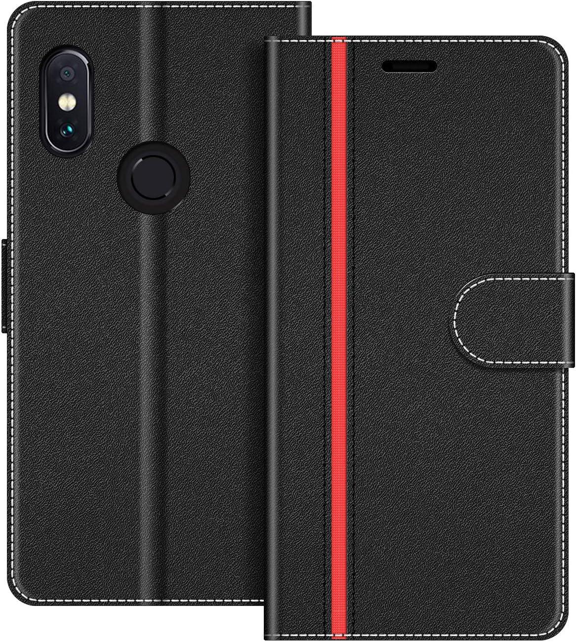 COODIO Funda Xiaomi Redmi Note 5 con Tapa, Funda Movil Xiaomi Redmi Note 5, Funda Libro Xiaomi Note 5 Carcasa Magnético Funda para Xiaomi Redmi Note 5, Negro/Rojo