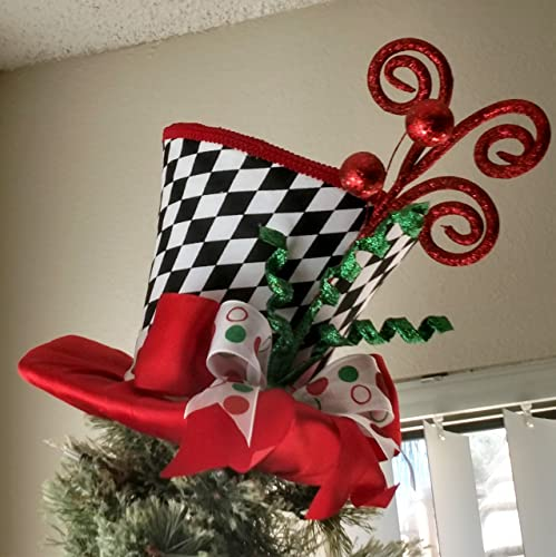 top hat tree topper free shipping christmas tree topper tree topper bow - Top Hat Christmas Decorations