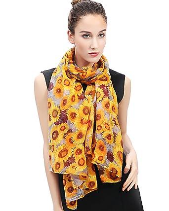 8f0ad764889c Lina   Lily Écharpe Foulard pour Femme Imprimé Fleur Tournesol (Or)  Amazon. fr  Vêtements et accessoires