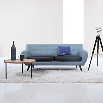 Mid Century Modern Tufted Bonded Leather Sofa In Color Grey, Black (Grey  Frame /