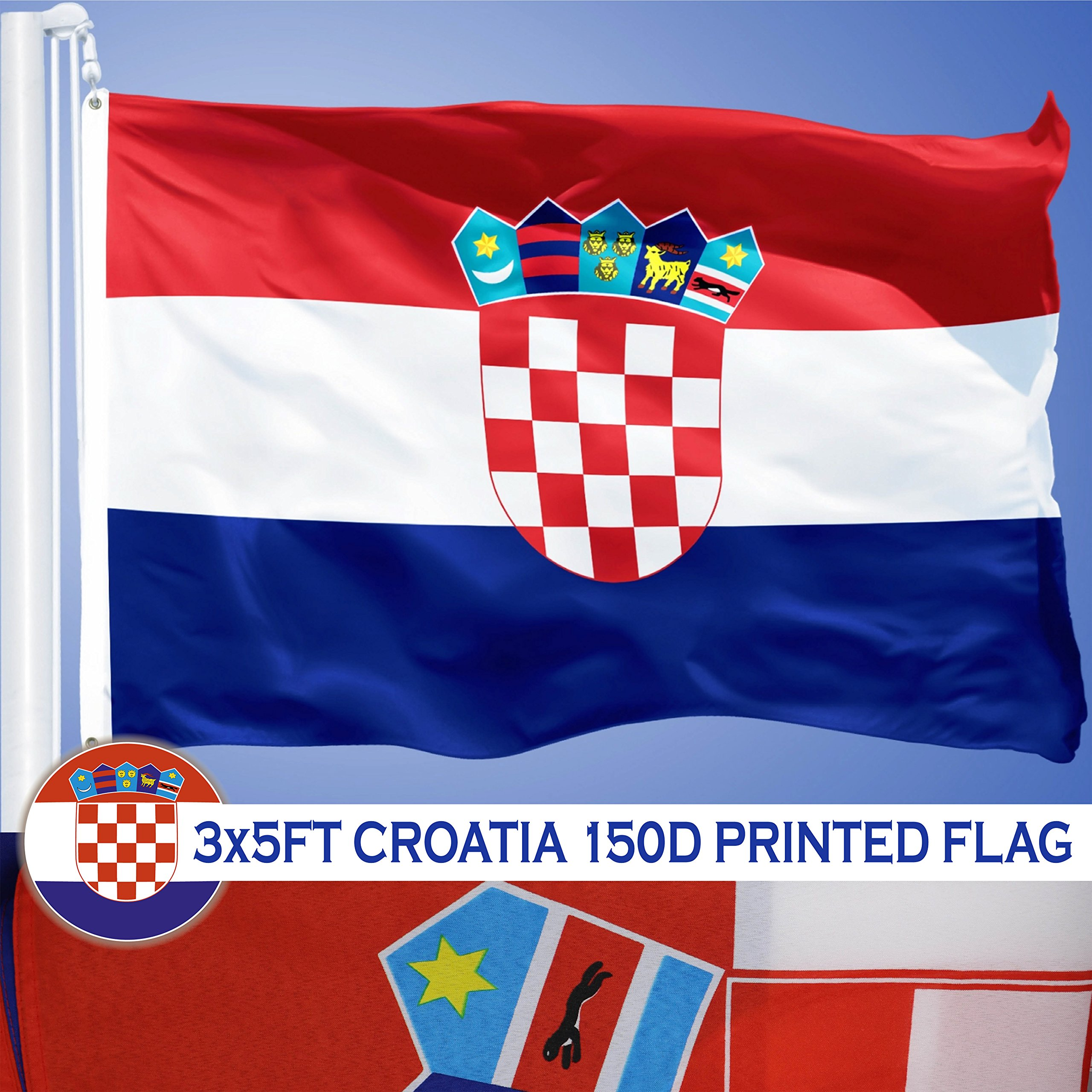 G128 Croatia Croatian Flag 3x5 ft Printed Brass Grommets 150D Quality Polyester Flag Indoor/Outdoor - Much Thicker and More Durable than 100D and 75D Polyester