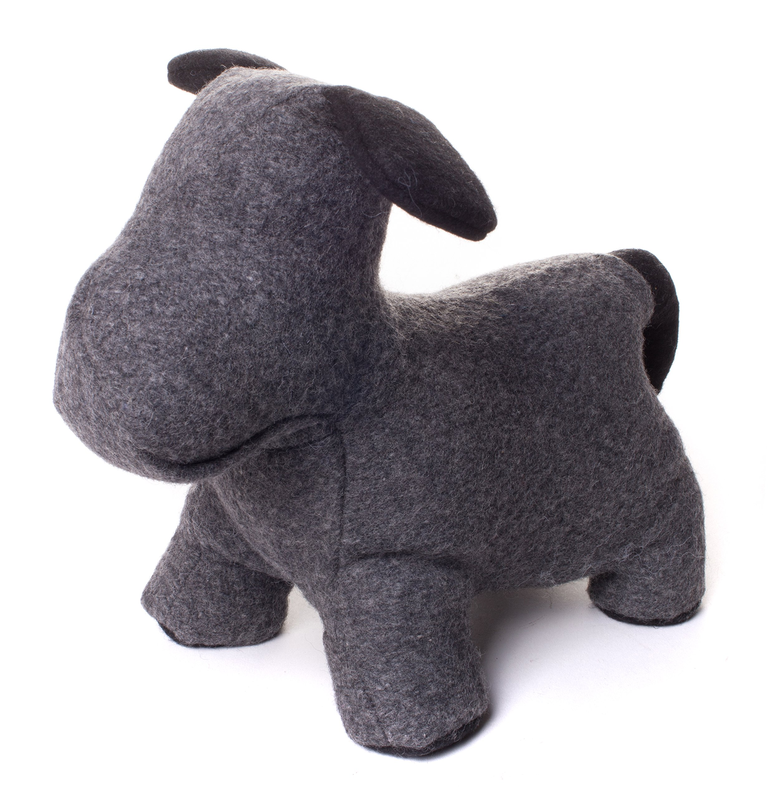 Red Co. Charming Minimalistic Puppy Dog Weighted Door Stopper, Pet Lovers Home Decoration Gift, Grey and Black, 8-inch