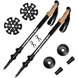 Binrrio Trekking Poles,100% Carbon Fiber Walking Poles,Ultralight Hiking Sticks with Natural cork Free Grips Anti-shock