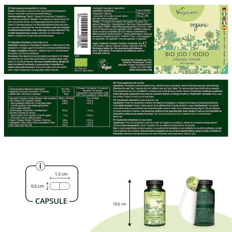 BIO Yodo Vegavero® 150mcg | Testado en Laboratorio | Celulitis + Drenante + Detox | 180 Cápsulas | Rico en Proteína Vegana | Alga Kelp