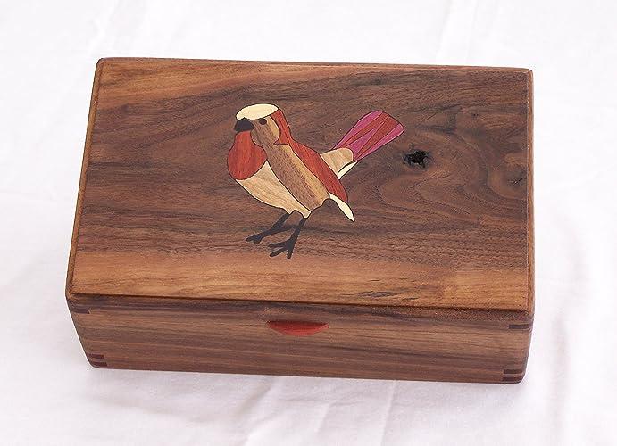 Amazoncom Black Walnut Jewelry Box with Sparrow Wood Inlay Handmade