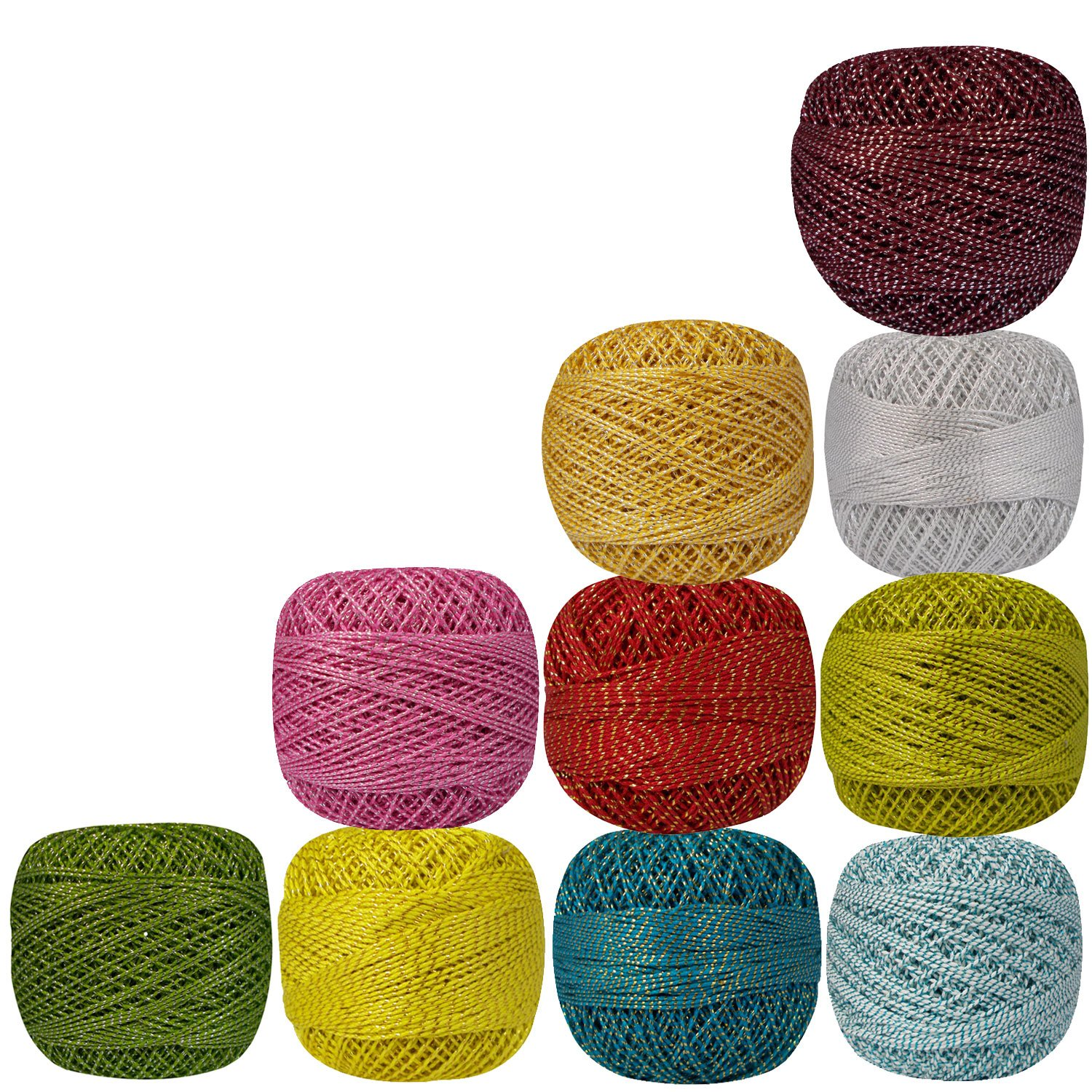 10 Pcs Metallic Multicolor Cotton Crochet Thread Variegated Knitting Yarn Tatting Doilies Assorted Colors Skeins Lacey Craft
