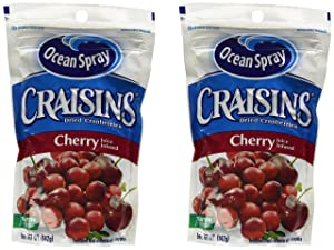 Ocean Spray Craisins Dried Canberries Cherry Juice Infused 5oz Bag, 2-bags