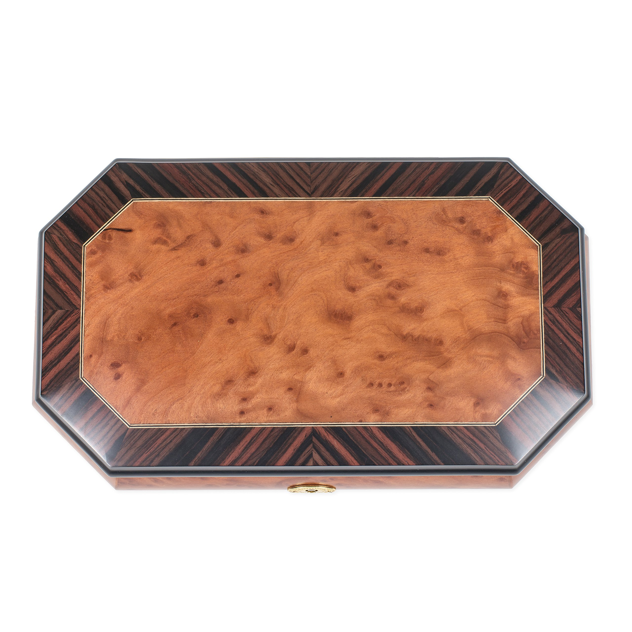 Two Wood Italian Hand Crafted Inlay Trunk Style Music Box Plays Magic Flute by Splendid Music Box Co. (Image #3)