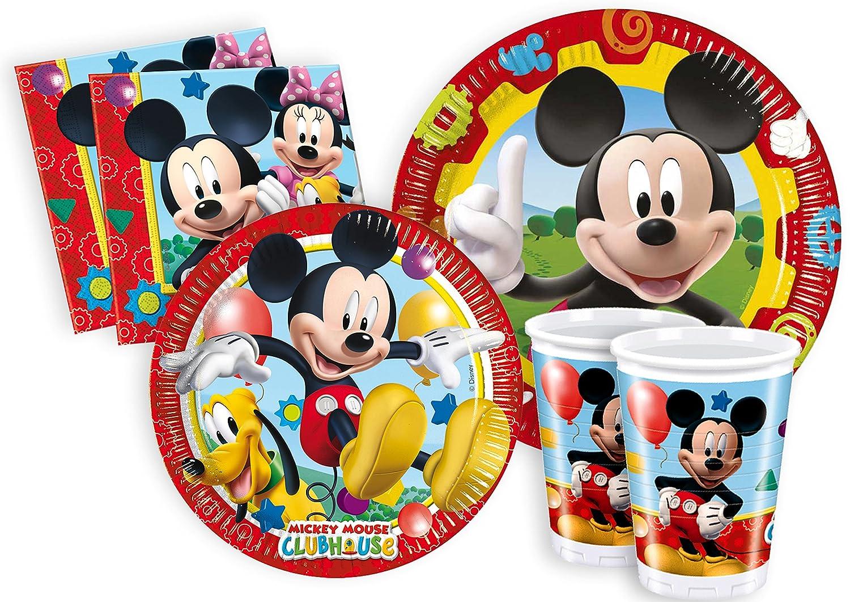 Ciao y2495 – Kit Party Fiesta de tabla Mickey Mouse Club House Para 24 Personas (112 piezas color 24 platos grandes, 24 platos Medi, 24 vasos, 40 ...