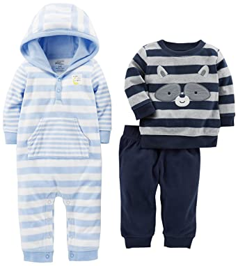 7a752da26e02 Amazon.com: Simple Joys by Carter's Baby Boys' 3-Piece Fleece Playwear Set  - Fleece Hooded Jumpsuit, Pants, and Sweater: Clothing