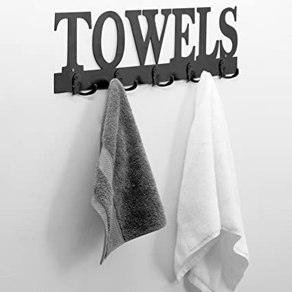 Black Metal TOWELS Design Wall Mounted 5 Dual Hook Towel Hanger Rack For  Bathroom Or