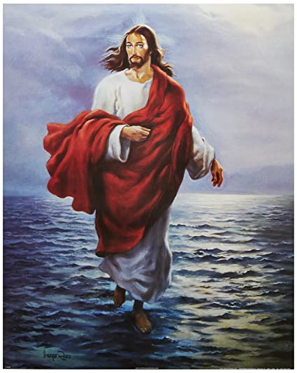 Jesus Christ Walking On Water Religious Wall Picture Art ...