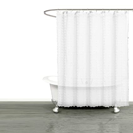 Bathroom And More Collection SHEER White Fabric Shower Curtain 3D Small Soft Tufts Design Size 72in
