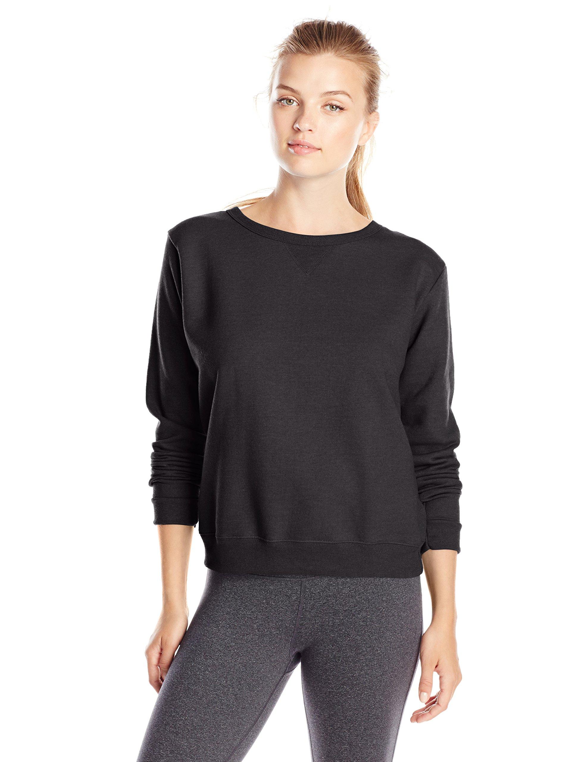 Hanes Women's V-Notch Pullover Fleece Sweatshirt, Ebony, Medium