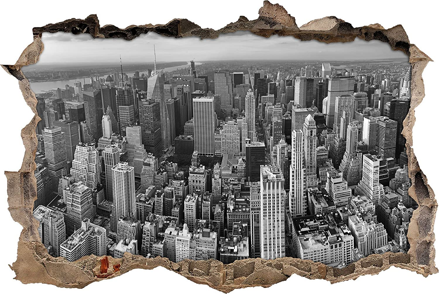 Eitelkeit Wandtattoo New York Referenz Von Pixxprint 3d_wd_1941_92x62 Skyline Black And White Wanddurchbruch