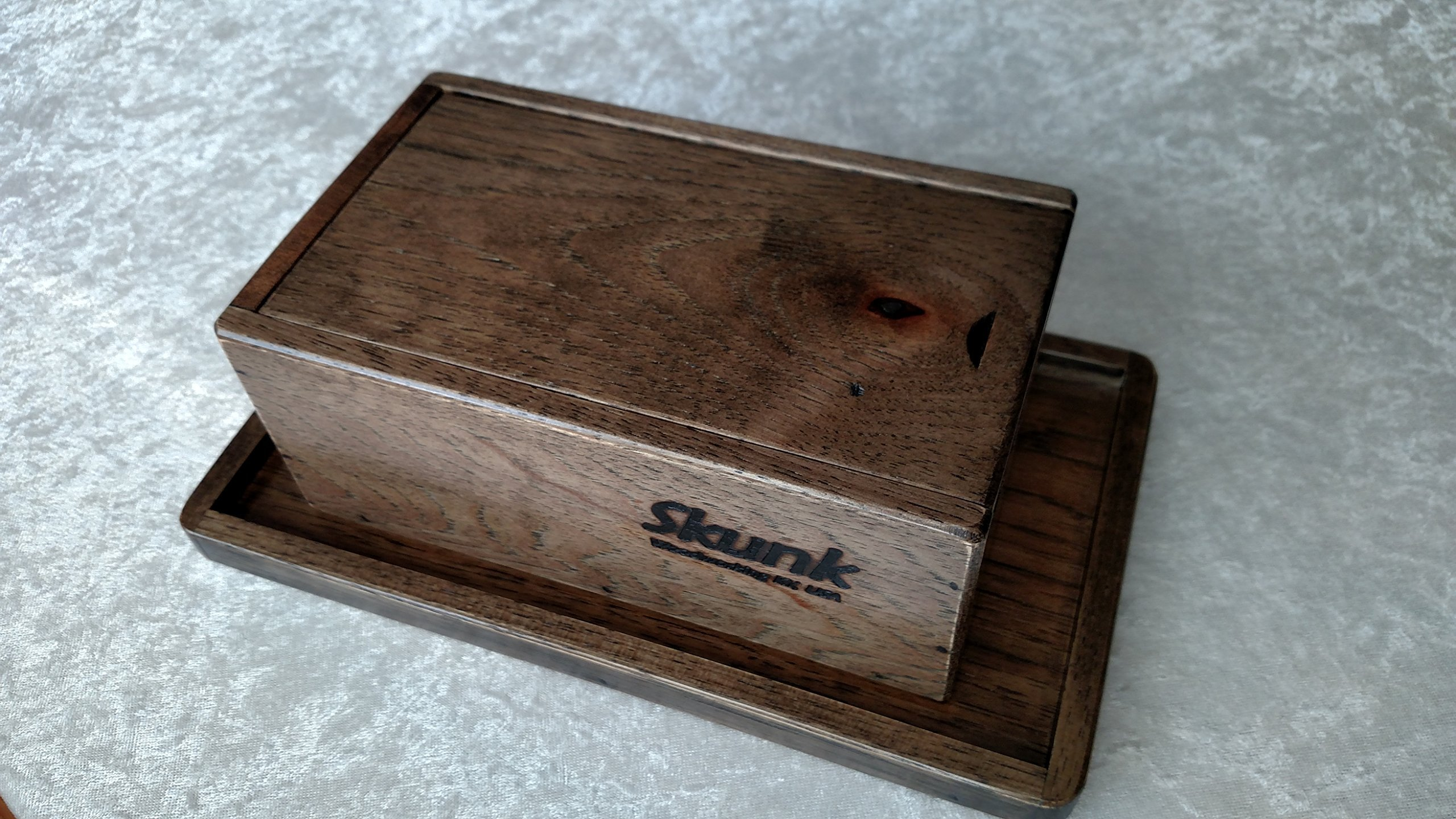 Black Hickory Stash Box and Rolling Tray Gift Set by Skunk Woodworking