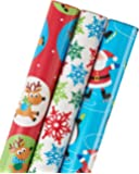 """American Greetings Christmas Wrapping Paper, Santa, Flakes, and Snow Friends, 3-Roll, 30"""", 102 Total Sq. Ft."""