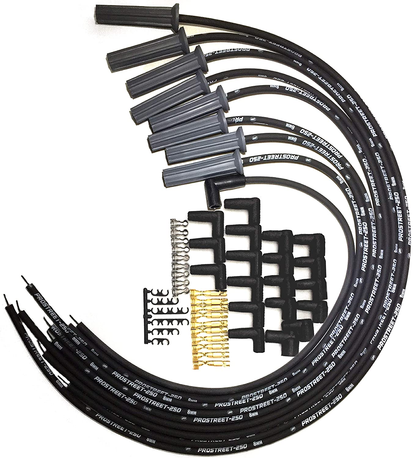 Upp Prostreet 250 Black 8mm Silicone High 454 Bbc Gm Distributor Coil Wiring Racing Universal Spark Plug Wire Set Ohm Wound Core 180 Degree Boots Terminals Fits Chevy Sbc 283 350 383 400 427 Automotive