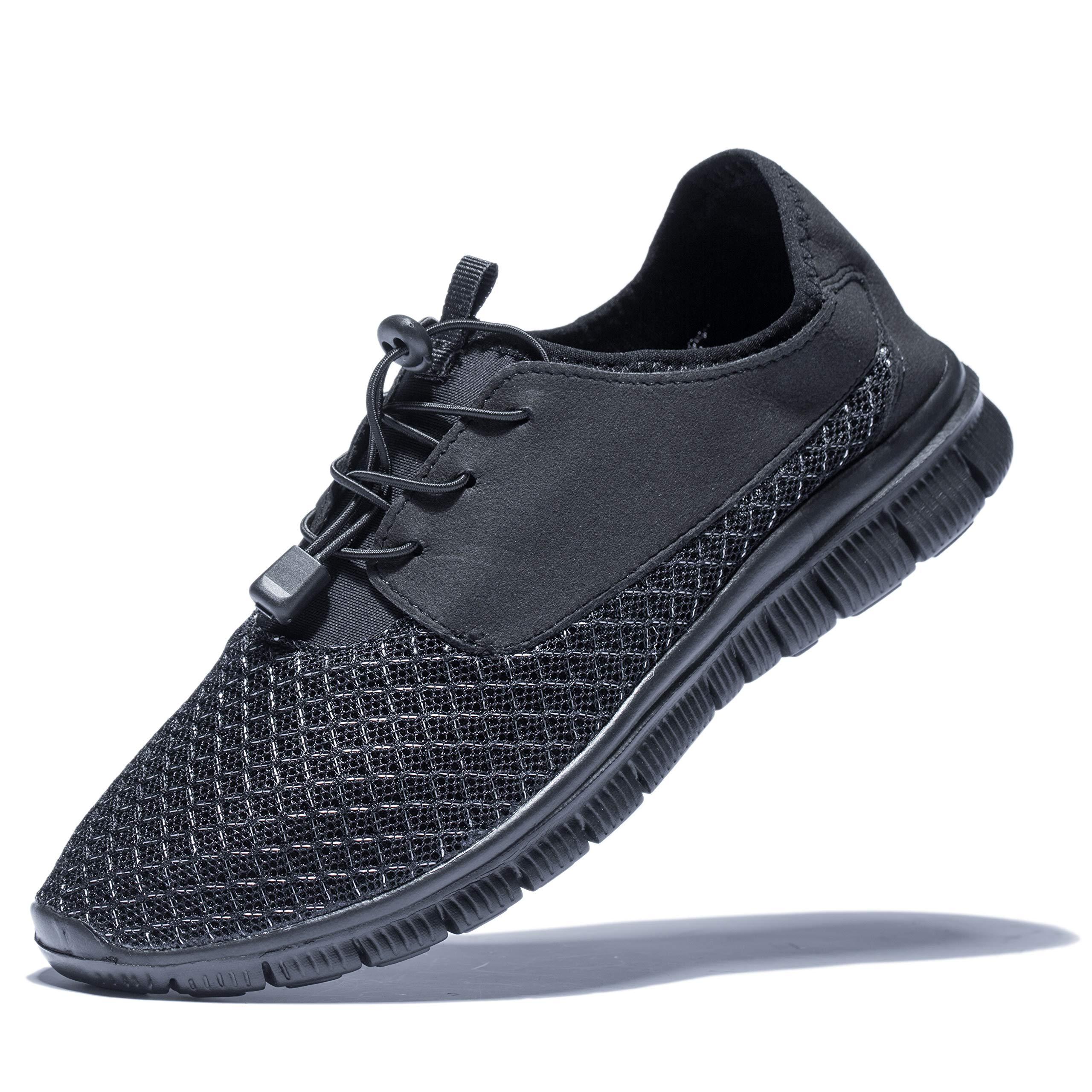 KENSBUY Men's Walking Sneakers Lightweight Mesh Lace up Shoes(Black/Black EU41) by KENSBUY (Image #1)