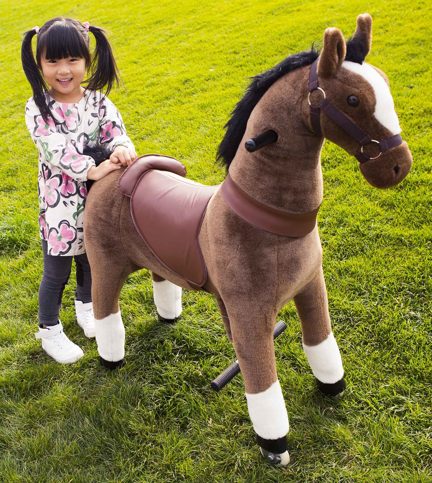 Mechanical Ride on Pony Simulated Horse Riding on Toy Ride-on without Battery or Power: More Comfortable Riding with Gallop Motion for Kids 5-12 Years