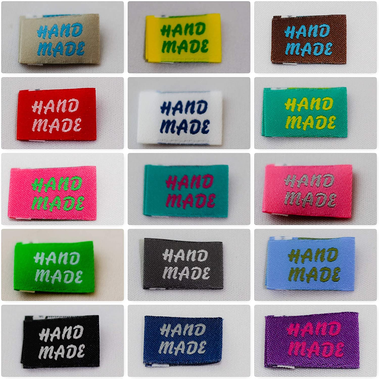 Brauner Wei/ß Rosa Nsiwem Handmade Label 150 St/ück Stoffetiketten Handmade with Love Etiketten Textiletiketten Handmade Stoff Labels Tags Applikationen Rechteck f/ür N/ähen DIY Dekor
