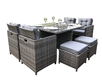 Tremendous Luxury Grey Rattan Garden Furniture 9 Piece Cube Set Download Free Architecture Designs Jebrpmadebymaigaardcom