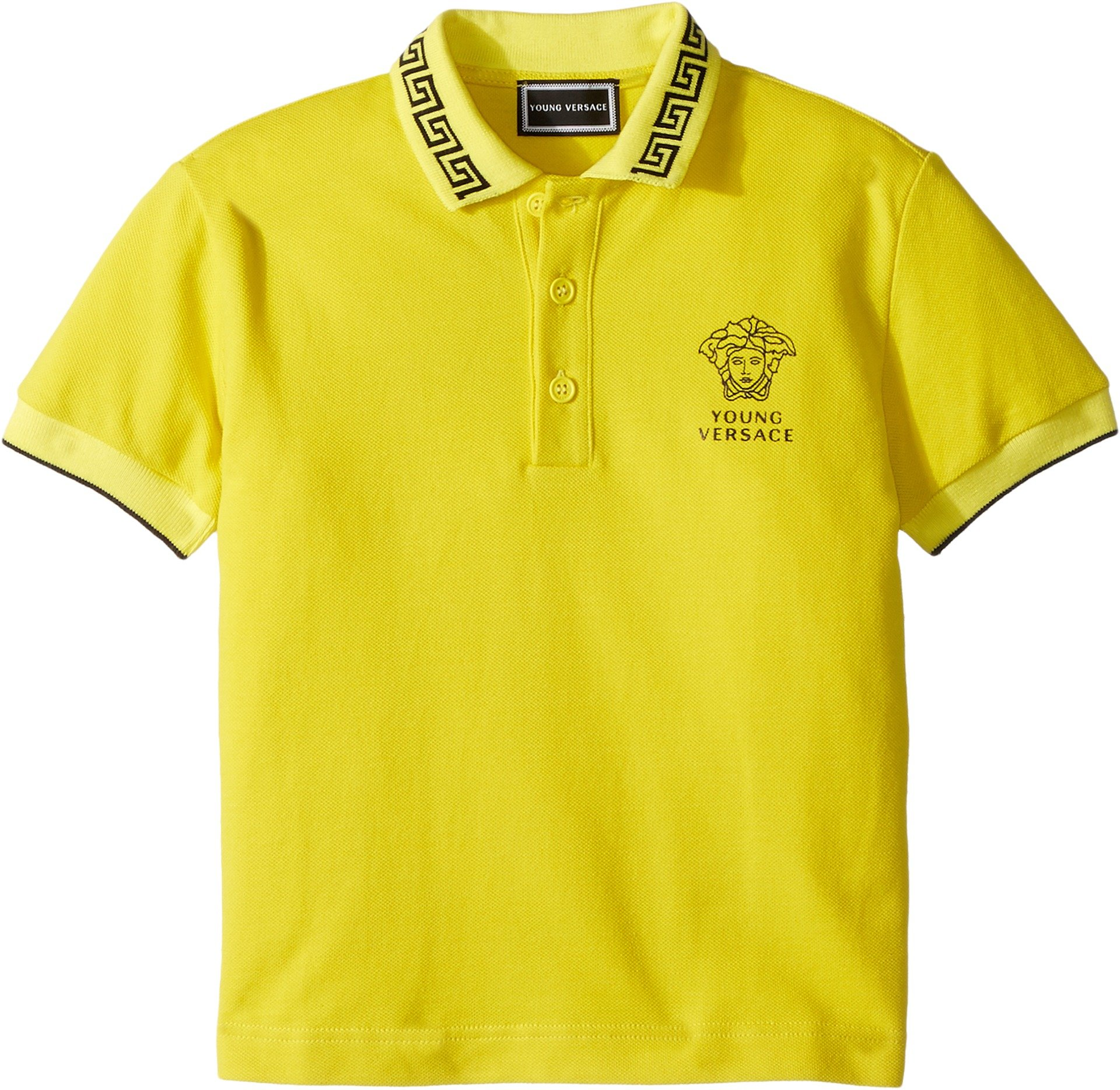 Versace Kids Baby Boy's Short Sleeve Polo With Logo (Toddler/Little Kids) Yellow 4T