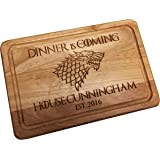 Personalised Game Of Thrones Wedding Anniversary Gift Dinner Is Coming House Name Chopping Cutting Cheese Board