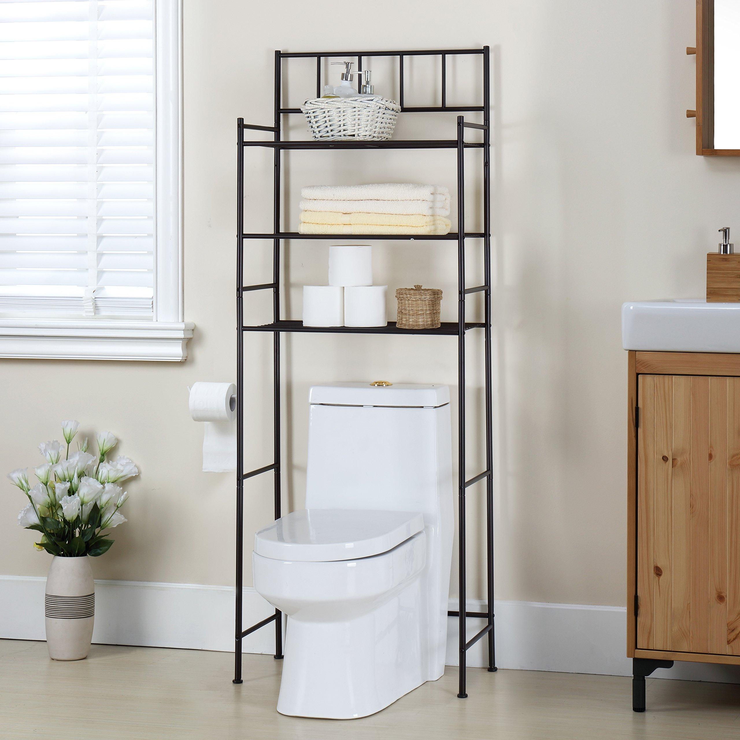 Finnhomy 3 Shelf Bathroom Space Saver Over The Toilet Rack Bathroom Corner Stand Storage Organizer Accessories Bathroom Cabinet Tower Shelf with ORB Finish 23.5'' W x 10.5'' D x 64.5'' H by Finnhomy